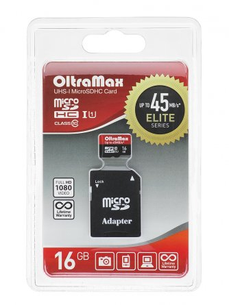 Micro SD 16Gb class 10 к/п Oltramax UHS-I Elite 45Mb/s+адаптер
