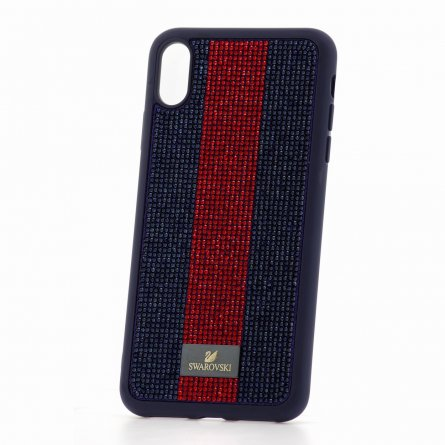 Чехол-накладка iPhone XS Max Swarovski Стразы Blue/Red