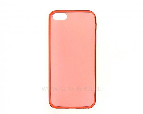 Чехол-накладка Apple iPhone 5/5S/SE красный глянцевый 0.5mm