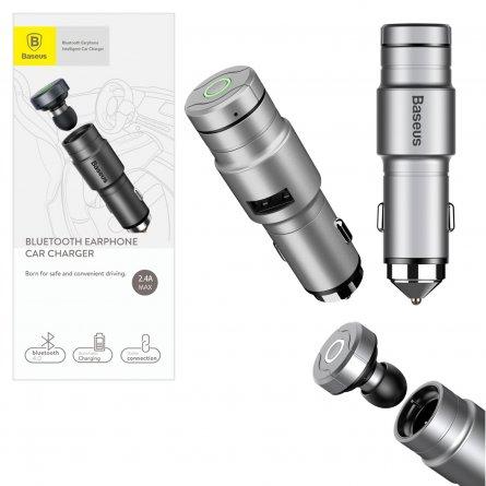 Bluetooth-гарнитура+авто адаптер Baseus BC02 Gray